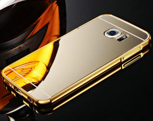 Luxury Metal Aluminum Bumper & Acrylic Mirror Back Case Cover For Samsung Galaxy S6 S7 S7 Edge S8 S8 Plus - Gold