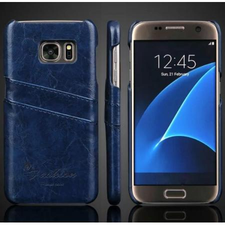 Oil Wax Leather Credit Card Holder Back Shell Case Cover for Samsung Galaxy S7 G930 - Dark Blue