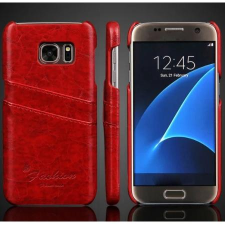 Oil Wax Leather Credit Card Holder Back Shell Case Cover for Samsung Galaxy S7 G930 - Red
