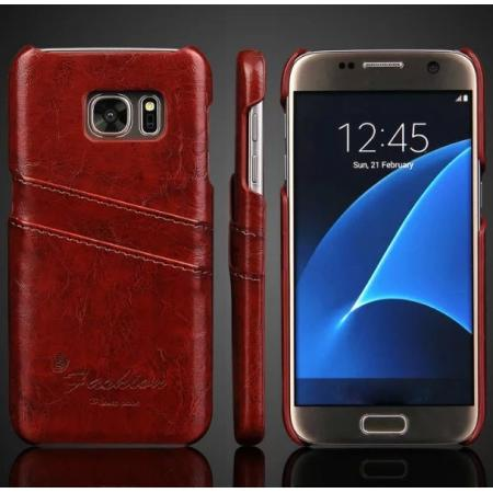 Oil Wax Leather Credit Card Holder Back Shell Case Cover for Samsung Galaxy S7 G930 - Dark Brown