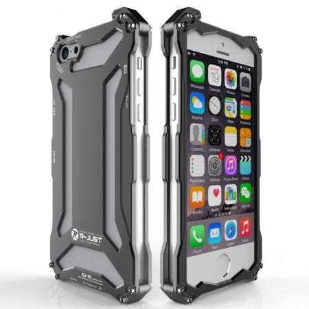 R-JUST Aluminum Metal Shockproof Frame Case For iPhone SE - Black