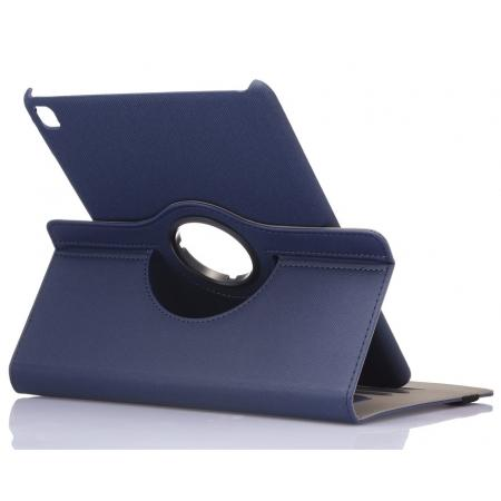 360 Degree Rotating Folio Jeans Cloth Skin PU Leather Case for 9.7-inch iPad Pro - Dark Blue