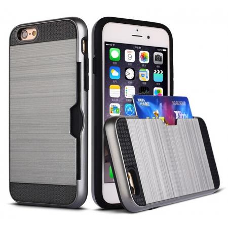 Brushed Texture Hybrid Dual Layer Armor With Card Slot Case For iPhone 6 Plus/6S Plus - Gray
