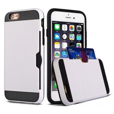 Brushed Texture Hybrid Dual Layer Armor With Card Slot Case For iPhone 6 Plus/6S Plus - White