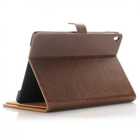 Crazy Horse Dual Layer Credit Card Holder Wallet PU Leather Stand Case for 9.7-inch iPad Pro - Coffee