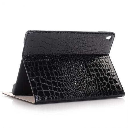 Crocodile Texture Magnetic Flip Stand Leather Case for 9.7-inch iPad Pro - Black