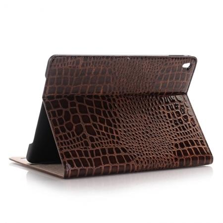 Crocodile Texture Magnetic Flip Stand Leather Case for 9.7-inch iPad Pro - Coffee