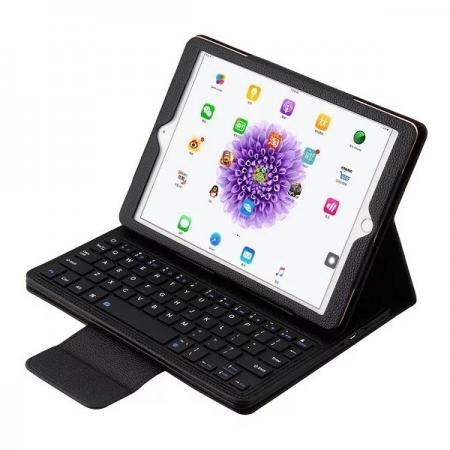 Detachable Wireless Bluetooth Keyboard PU Leather Case For 9.7-inch iPad Pro - Black