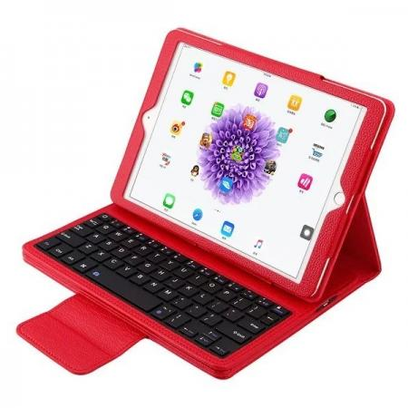 Detachable Wireless Bluetooth Keyboard PU Leather Case For 9.7-inch iPad Pro - Red