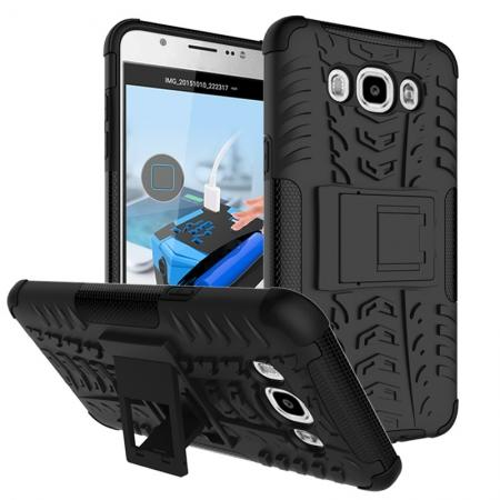 Hybrid Dual Layer Armor Defender Case with Stand For Samsung Galaxy J7 (2016) J710 - Black
