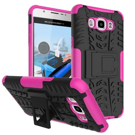 Hybrid Dual Layer Armor Defender Case with Stand For Samsung Galaxy J7 (2016) J710 - Hot pink