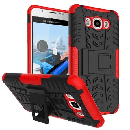 Hybrid Dual Layer Armor Defender Case with Stand For Samsung Galaxy J7 (2016) J710 - Red