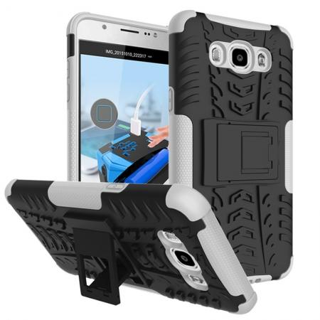 Hybrid Dual Layer Armor Defender Case with Stand For Samsung Galaxy J7 (2016) J710 - White