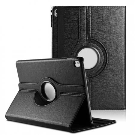 Litchi Grain 360° Rotating Folio Stand Smart PU Leather Case Cover For 9.7-inch iPad Pro - Black
