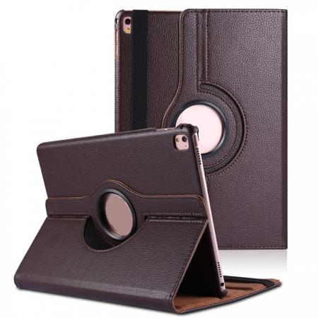 Litchi Grain 360° Rotating Folio Stand Smart PU Leather Case Cover For 9.7-inch iPad Pro - Brown