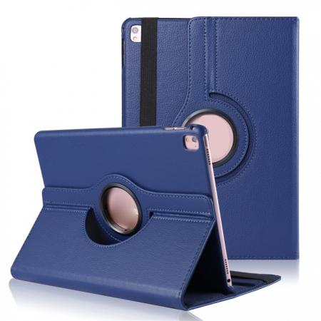 Litchi Grain 360° Rotating Folio Stand Smart PU Leather Case Cover For 9.7-inch iPad Pro - Dark Blue