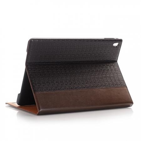 Luxury Crocodile Folding Folio Smart Cover Leather Case For 9.7-inch iPad Pro - Brown