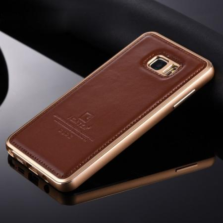 Luxury Aluminum Metal Case + Genuine Leather Case Cover For Samsung Galaxy Note 5 Note 8 - Brown/Champagne