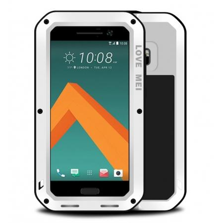 Rubber Aluminum Metal Gorilla Glass ShockProof Case Cover For HTC One M10 - White