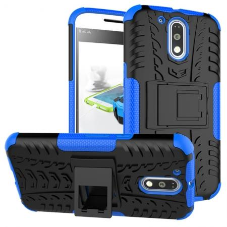 Shockproof Hybrid Dual Layer Protective Case Kickstand Cover for Motorola MOTO G4 Plus - Blue