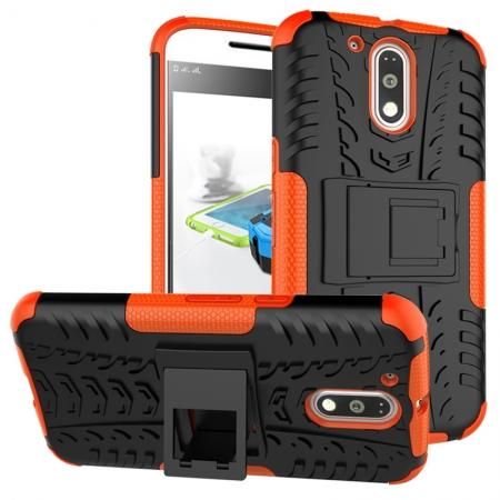 Shockproof Hybrid Dual Layer Protective Case Kickstand Cover for Motorola MOTO G4 Plus - Orange