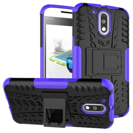 Shockproof Hybrid Dual Layer Protective Case Kickstand Cover for Motorola MOTO G4 Plus - Purple