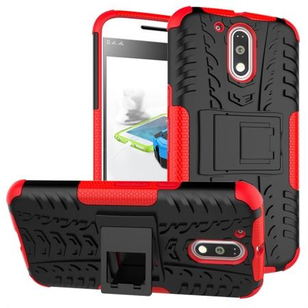 Shockproof Hybrid Dual Layer Protective Case Kickstand Cover for Motorola MOTO G4 Plus - Red