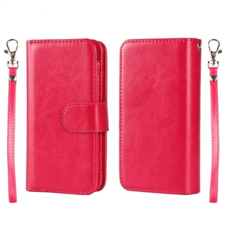 2 in1 Magnet Detachable Removable Cards Cash Slots Leather Case for iPhone 5/5s/SE - Hot Pink