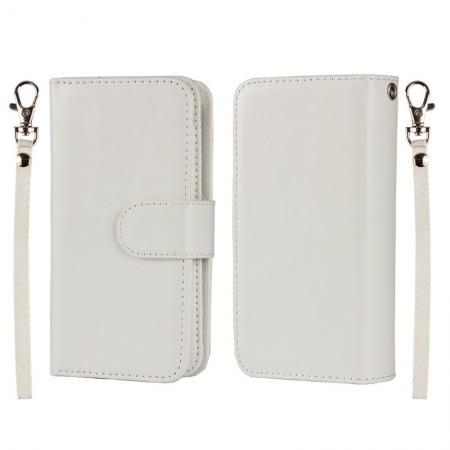 2 in1 Magnet Detachable Removable Cards Cash Slots Leather Case for iPhone 5/5s/SE - White