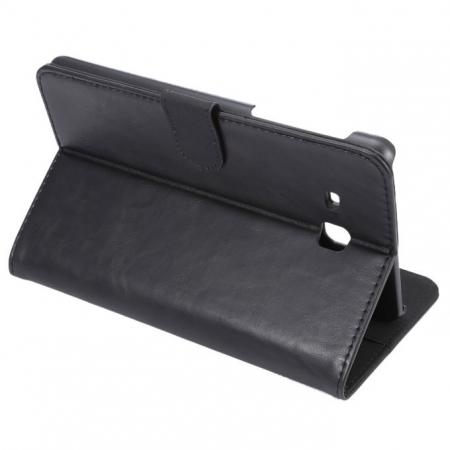 Crazy Horse PU Leather Wallet Flip Stand Smart Case Cover for Samsung Galaxy Tab A 7.0 T280 - Black