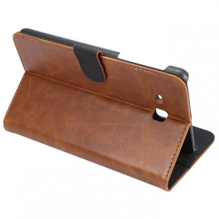 Crazy Horse PU Leather Wallet Flip Stand Smart Case Cover for Samsung Galaxy Tab A 7.0 T280 - Brown
