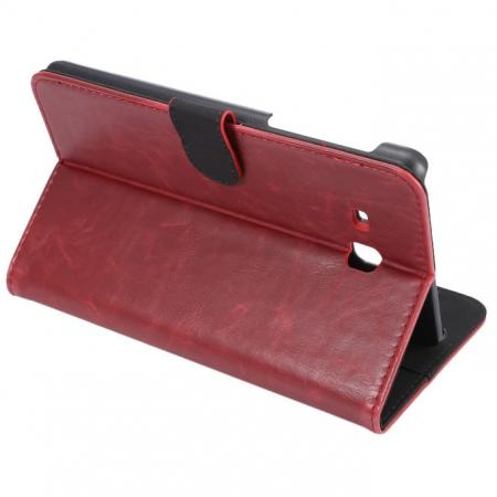 Crazy Horse PU Leather Wallet Flip Stand Smart Case Cover for Samsung Galaxy Tab A 7.0 T280 - Wine Red