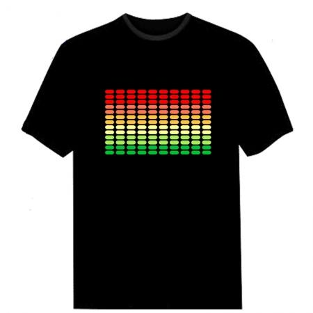 Electro-Luminescent Led Shirt With Music Activated LED T-Shirt