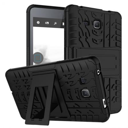 Hybrid Dual Layer Tough Kickstand Protective Case for Samsung Galaxy Tab A (2016) T280 - Black