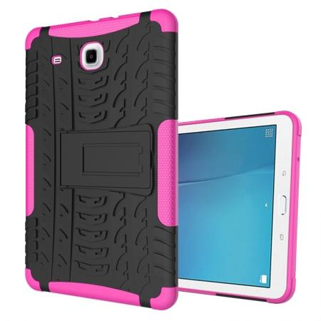 Shockproof Armor Heavy Duty Hybrid Kickstand Cover Case For Samsung Galaxy Tab E 9.6 T560 - Hot pink