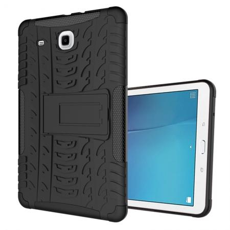 Shockproof Armor Heavy Duty Hybrid Kickstand Cover Case For Samsung Galaxy Tab E 9.6inch T560 - Black