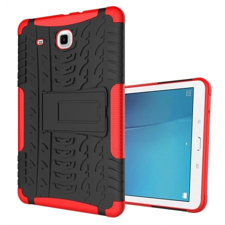Shockproof Armor Heavy Duty Hybrid Kickstand Cover Case For Samsung Galaxy Tab E 9.6inch T560 - Red