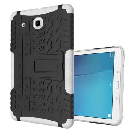 Shockproof Armor Heavy Duty Hybrid Kickstand Cover Case For Samsung Galaxy Tab E 9.6inch T560 - White