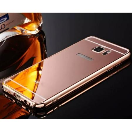 Luxury Metal Bumper With Mirror Acrylic Back Cover For Samsung Galaxy Note 5 - Rose gold