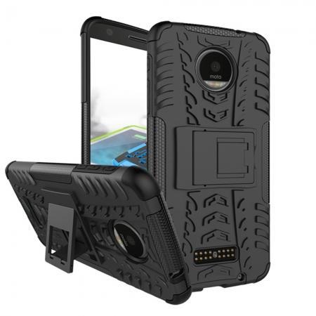 Heavy Duty Hybrid Dual Layer Kickstand Phone Cover Case for Motorola Moto Z Force - Black