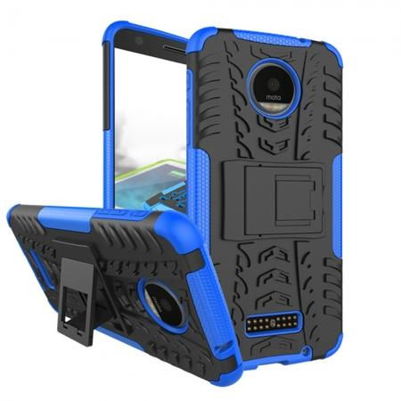 Heavy Duty Hybrid Dual Layer Kickstand Phone Cover Case for Motorola Moto Z Force - Blue