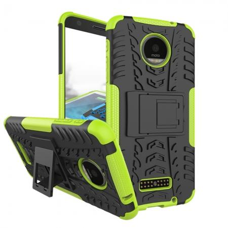 Heavy Duty Hybrid Dual Layer Kickstand Phone Cover Case for Motorola Moto Z Force - Green