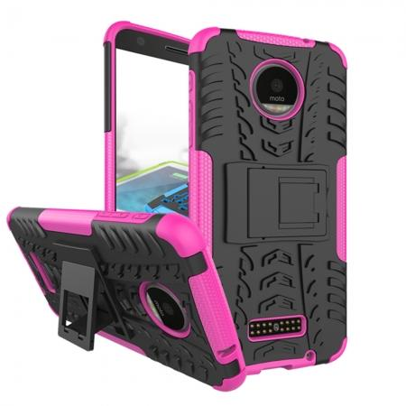 Heavy Duty Hybrid Dual Layer Kickstand Phone Cover Case for Motorola Moto Z Force - Hot pink