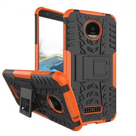 Heavy Duty Hybrid Dual Layer Kickstand Phone Cover Case for Motorola Moto Z Force - Orange
