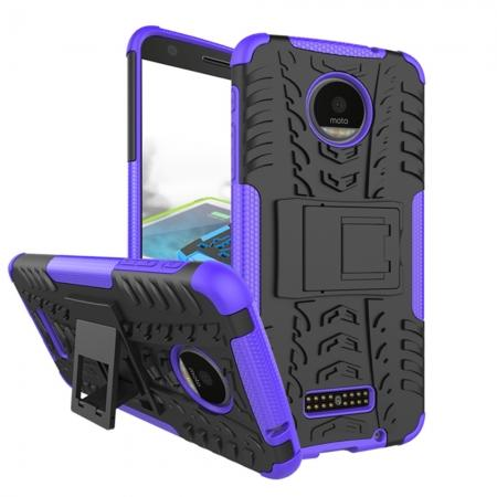 Heavy Duty Hybrid Dual Layer Kickstand Phone Cover Case for Motorola Moto Z Force - Purple