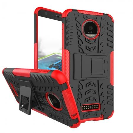 Heavy Duty Hybrid Dual Layer Kickstand Phone Cover Case for Motorola Moto Z Force - Red