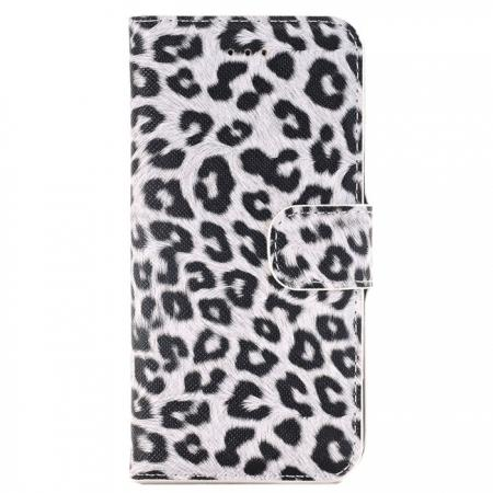 Leopard Pattern Magnetic Pu Leather Wallet Stand Case for iPhone 7 4.7 inch - White