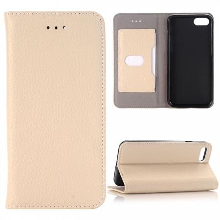Lichee Pattern Card Slot Flip Stand TPU+Genuine Leather Case for iPhone 7 4.7 inch - Beige