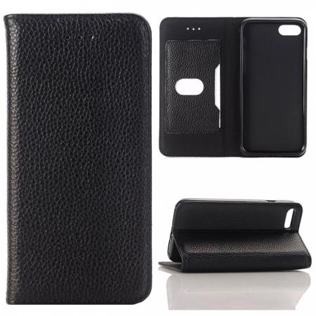 Lichee Pattern Card Slot Flip Stand TPU+Genuine Leather Case for iPhone 7 4.7 inch - Black