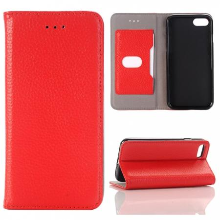 Lichee Pattern Card Slot Flip Stand TPU+Genuine Leather Case for iPhone 7 4.7 inch - Red